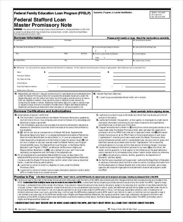 FAFSA Promissory Note Template