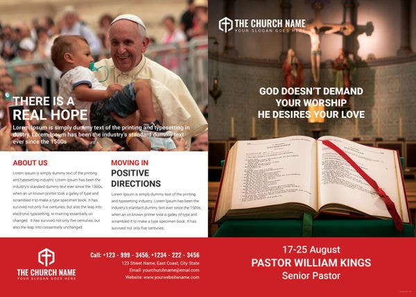 a4 sample church brochure