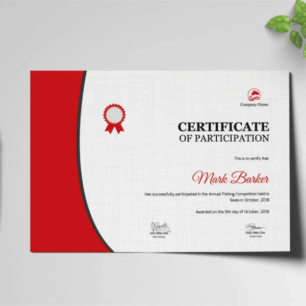 annual fishing participation certificate template