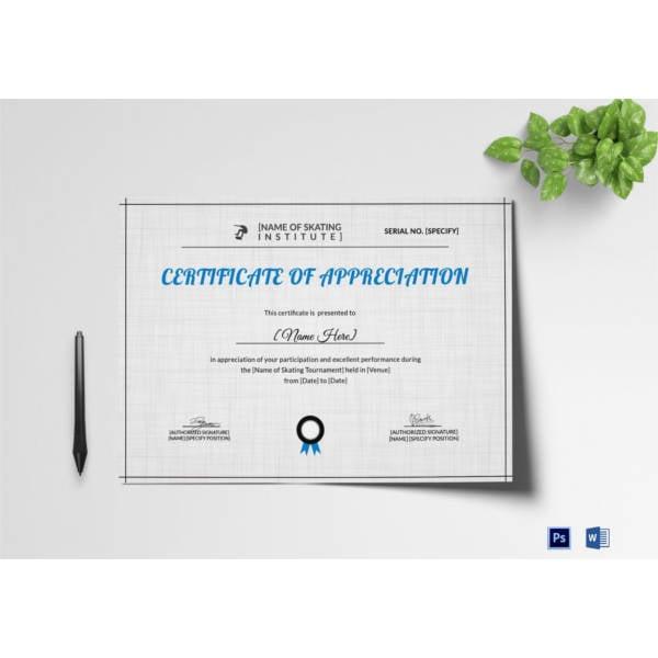 appreciation-certificate-of-skating-template