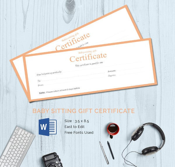 25 certificate templates free premium templates for Babysitting gift certificate template