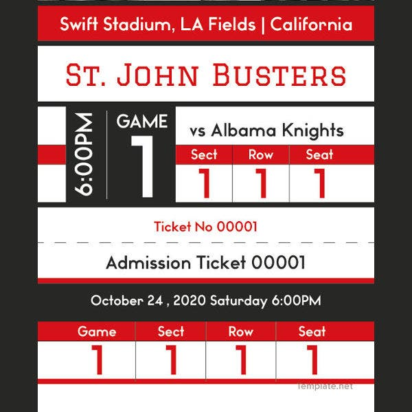 Baseball Admission Ticket