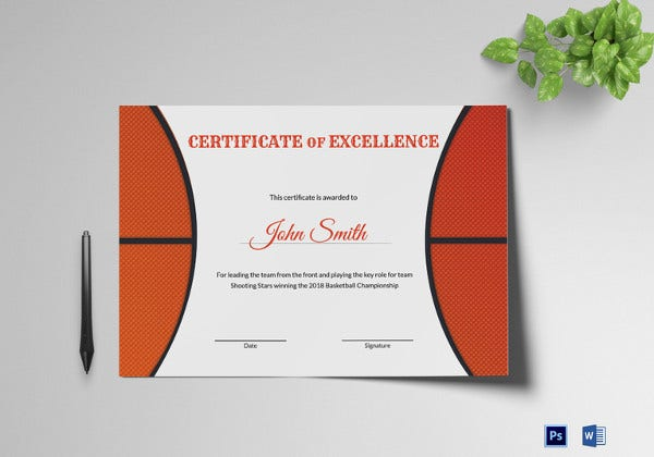 basketball excellence award certificate word