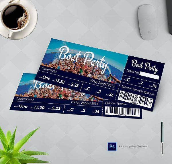 Exceptional Boat Party Ticket Template  Party Ticket Template