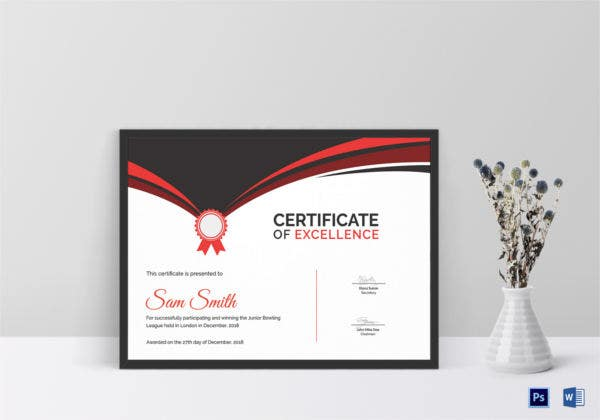 bowling award certificate