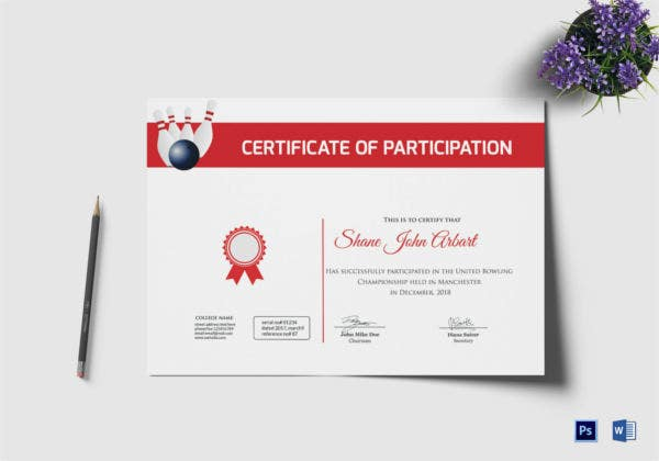 Bowling Certificate Template