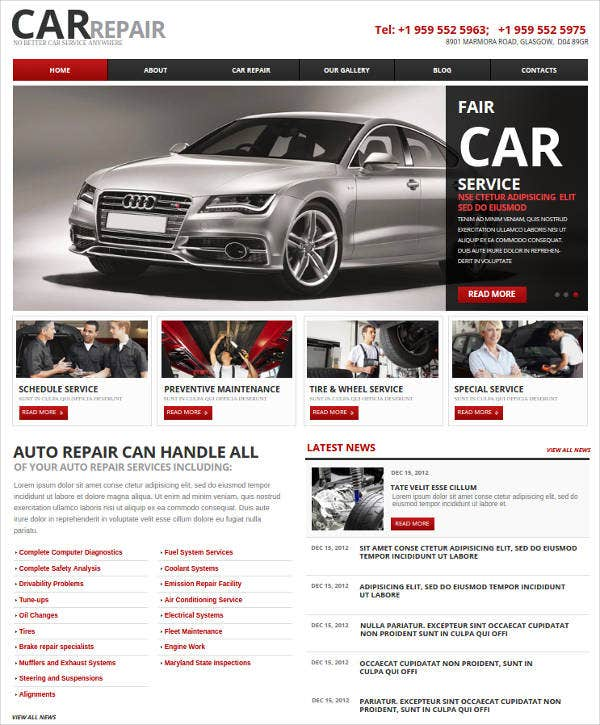 car and auto repair website
