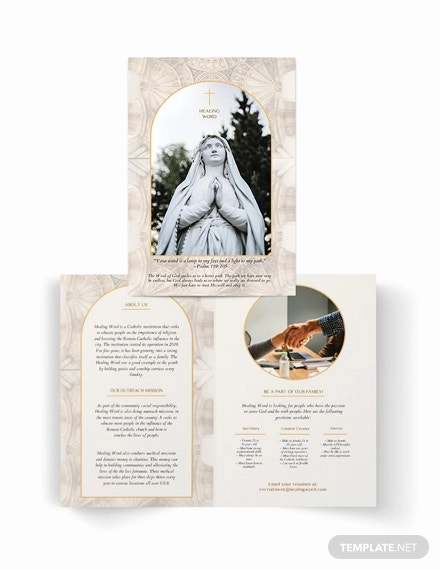 catholic bi fold brochure template