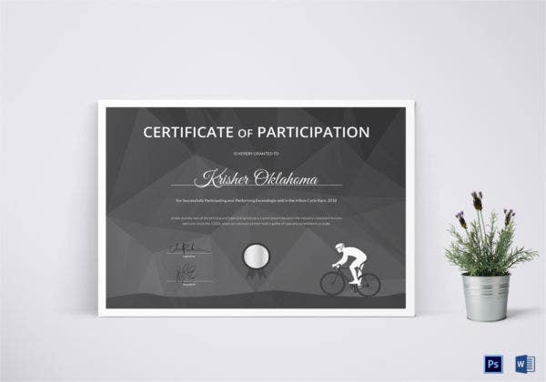 certificate of cycling award