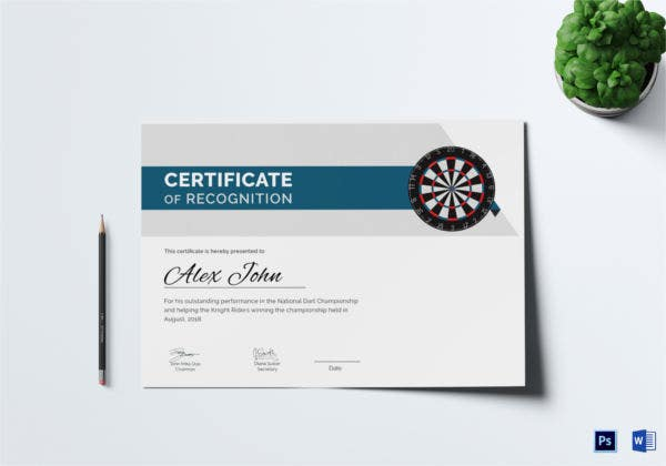 Certificate of Darts Award