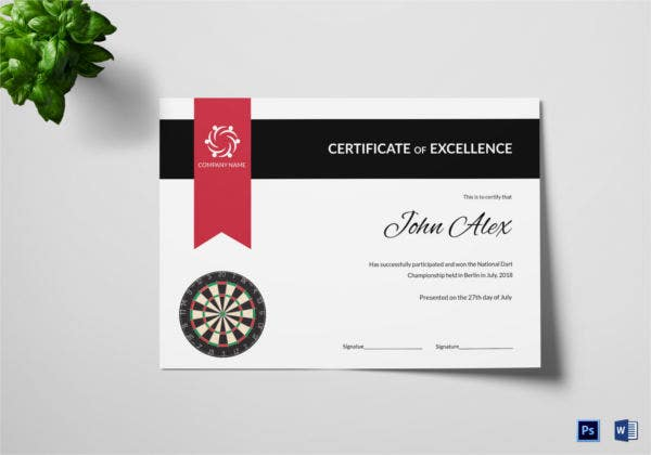 Certificate of Darts Champion