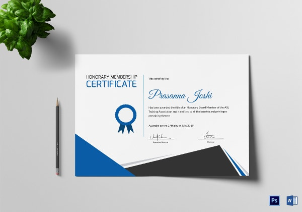 Certificate of Honorary Template - 8+ Word, PSD, AI Format ...