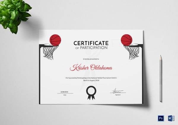 Netball Certificate Template 4 Word Psd Format Download Free