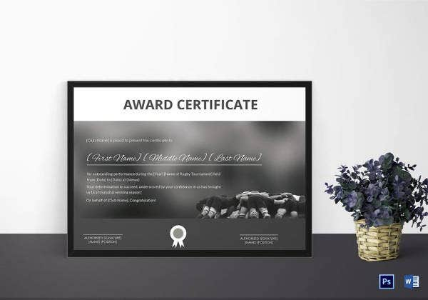 certificate of rugby tournament award template