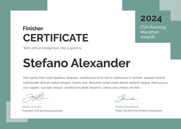 certificate of running template 5 word psd format