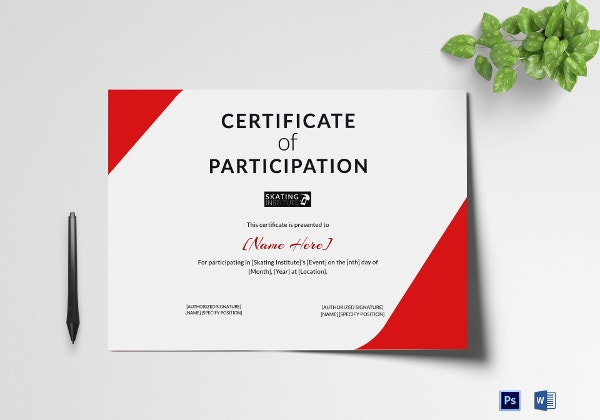 certificate of skateboarding participation