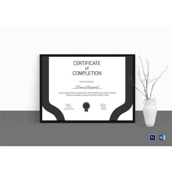 Certificate of Snooker Template