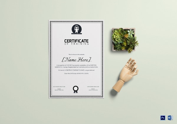 certificate of skipping training