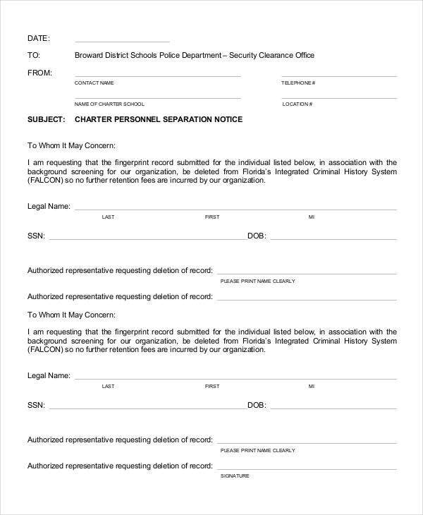 charter personnel separation notice