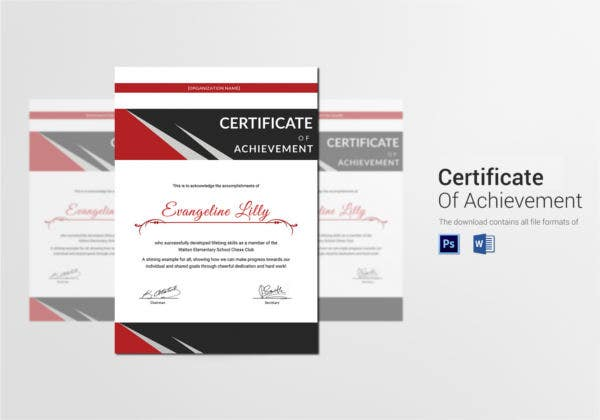 Chess Achievement Certificate Template
