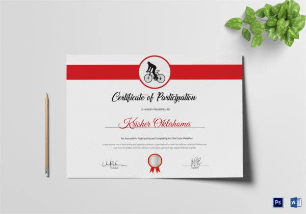 cycling participation certificate