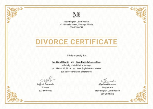 Divorce Certificate Template 9 Free Word Pdf Document
