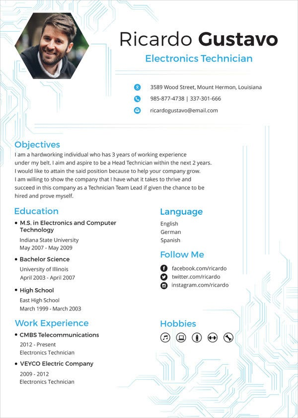 Electronic Technician Resume Template To Edit