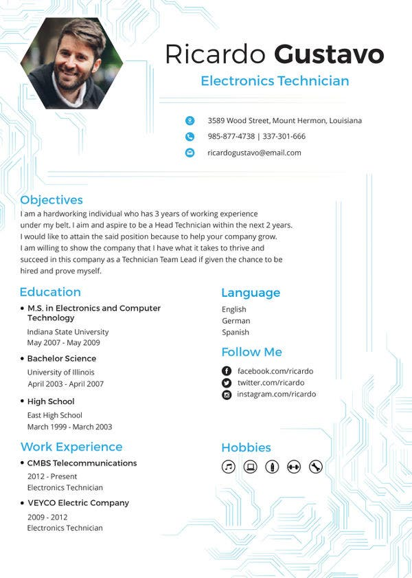 electronic-technician-resume-template