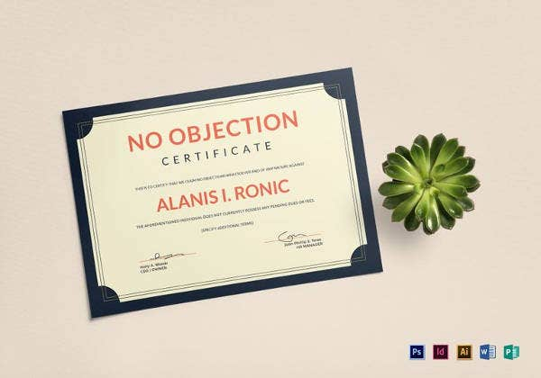 employee no objection certificate template