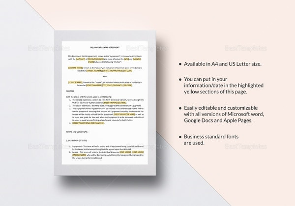 equipment rental agreement template