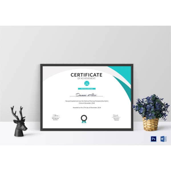 fencing achievement certificate template