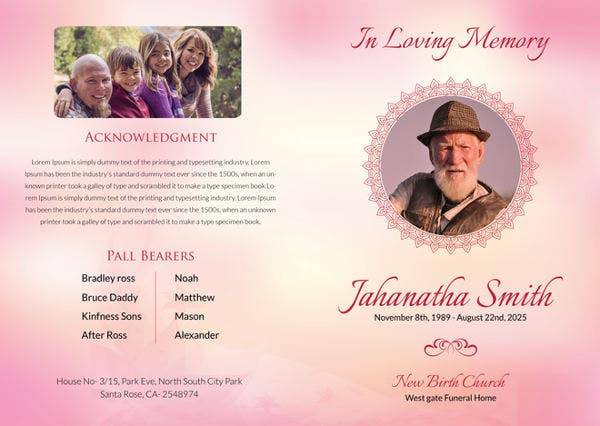Free Catholic Funeral Bi-fold Brochure