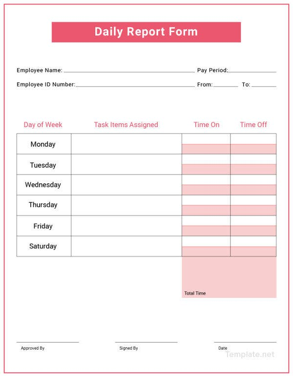 free daily report template
