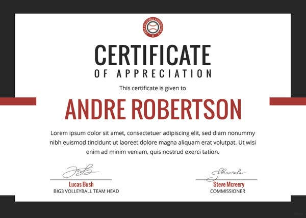 free volleyball appreciation certificate