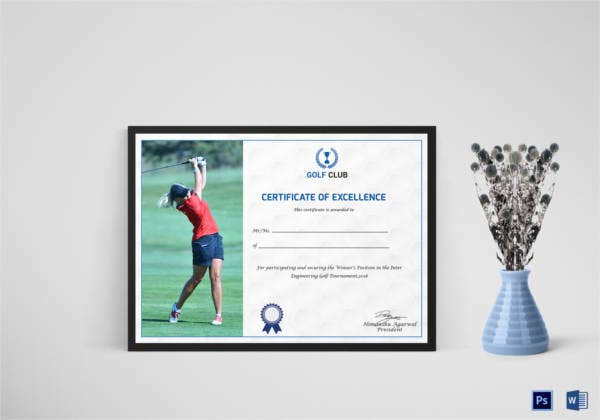 Golf Certificate Template 9 Word Psd Format Download Free