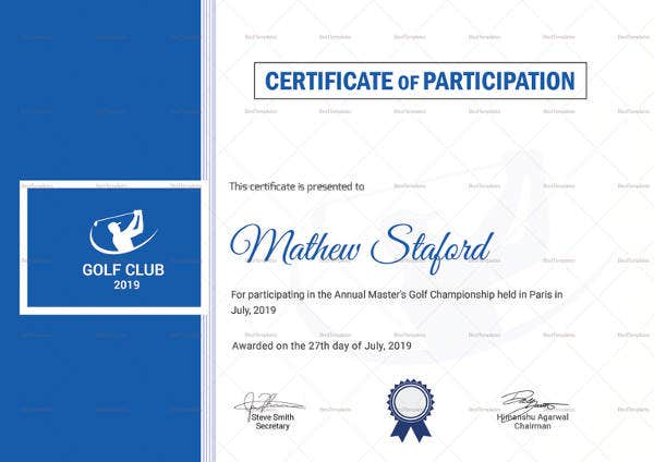 golf participation certificate template