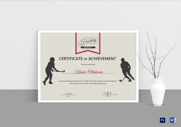 ice hockey achievement certificate template