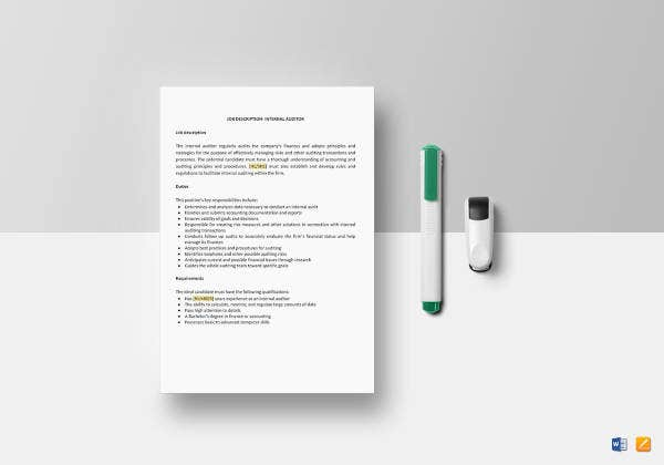 internal auditor job description template