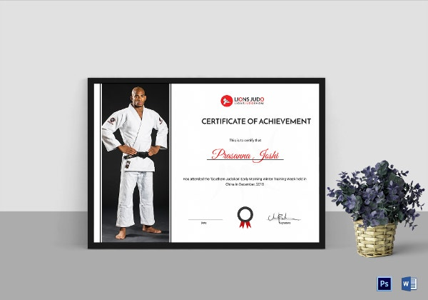 judo achievement certificate template