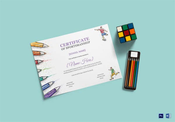 kids sports award certificate