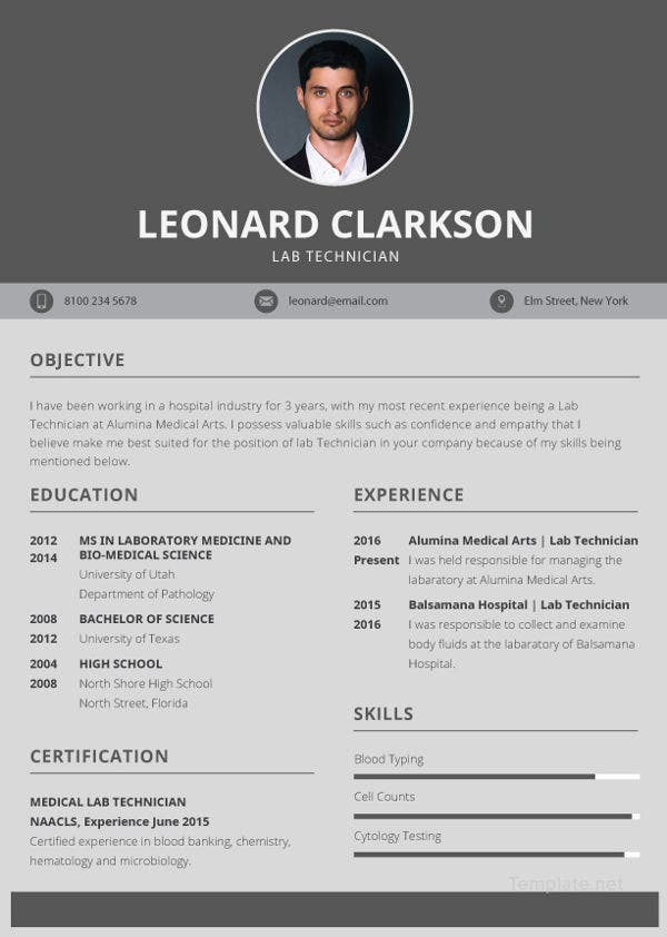 lab-technician-resume-template