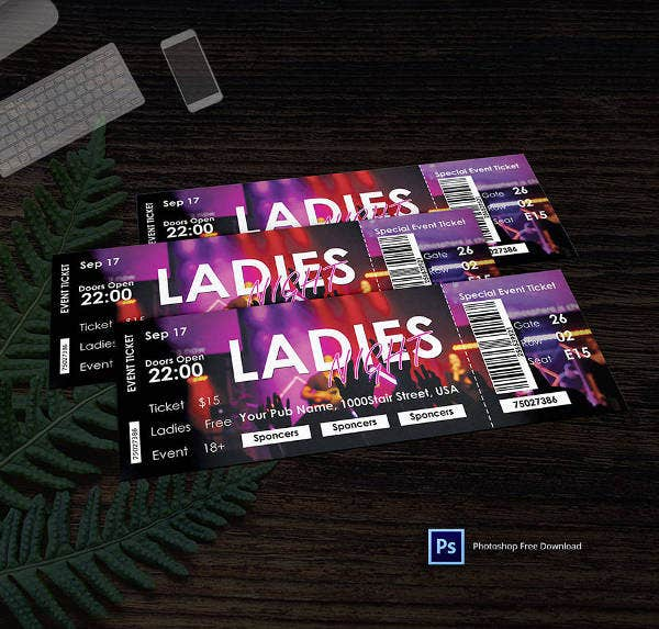 ladies-night-ticket-template