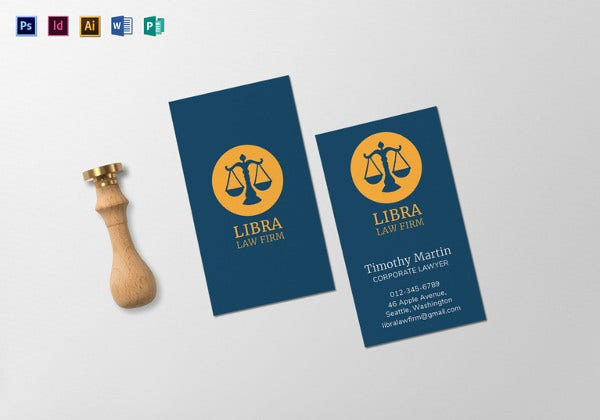 law firm business card indesign template