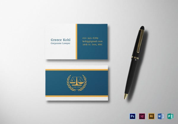 lawyer business card psd template