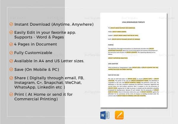 legal memo template in apple pages