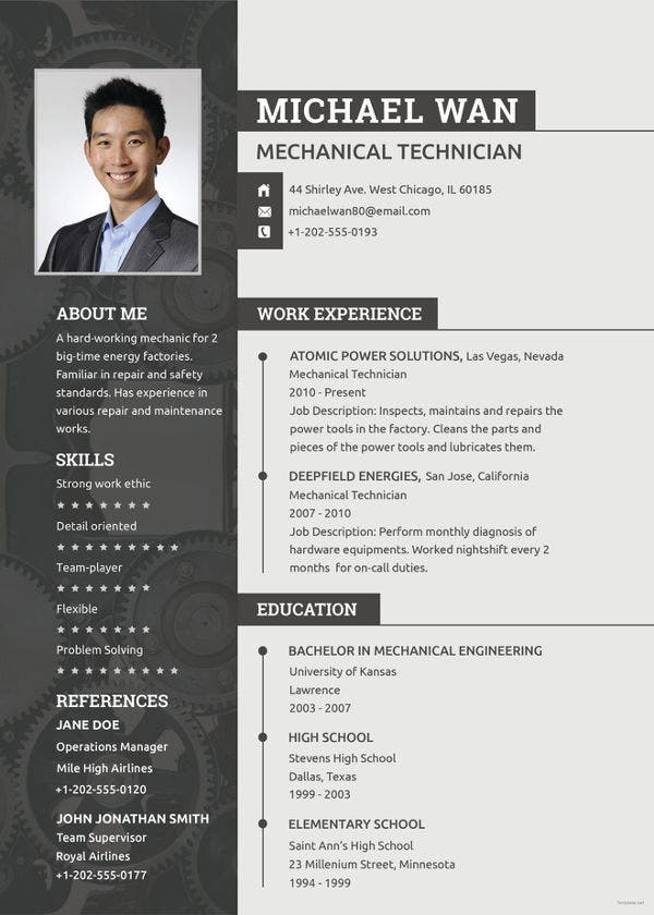 mechanic resume template