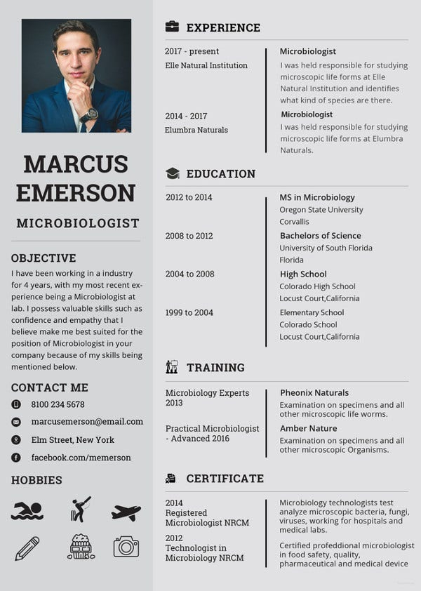 microbiologist resume photoshop template