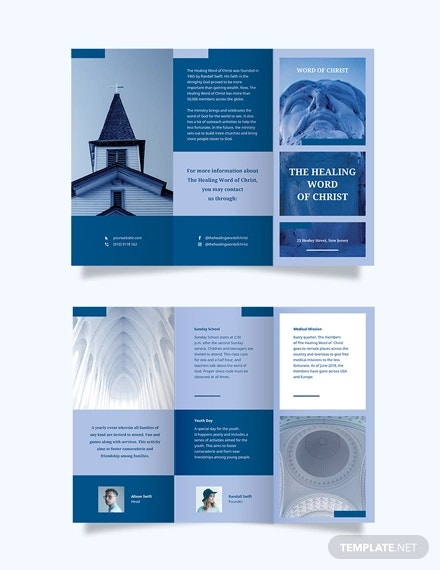 modern church tri fold brochure template