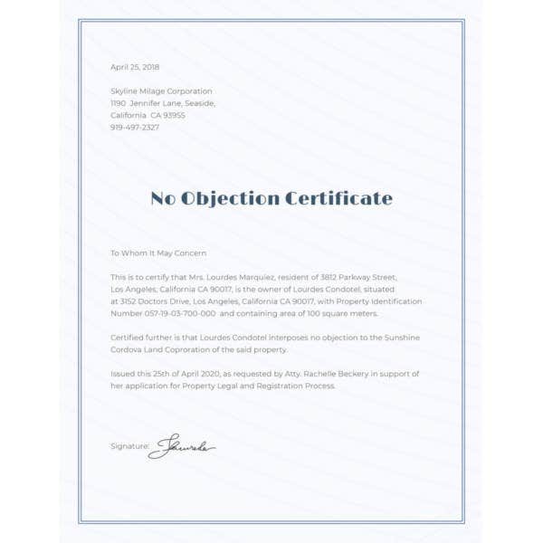 12 no objection certificate templates pdf doc free premium no objection certificate format altavistaventures Image collections