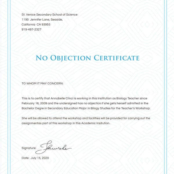 12+ No Objection Certificate Templates - PDF, DOC | Free & Premium ...